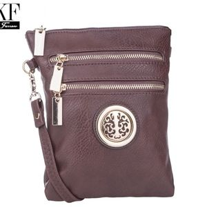 MKF Trios Coffee Brown Handbag Crossbody 3 zip Com